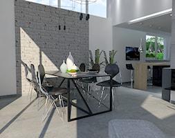 Projekt wnętrz w budynku jednorodzinnym - Duża biała szara jadalnia w salonie, styl industrialny - zdjęcie od DORA-design Projektowanie wnętrz Szczecin