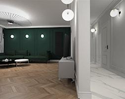 MIESZKANIE Z AKCENTEM PIĘKNEJ ZIELENI... - Duży szary zielony salon, styl klasyczny - zdjęcie od adachdesign