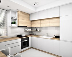 MAŁE MIESZKANIE WARSZAWA - Średnia zamknięta szara kuchnia w kształcie litery u z oknem, styl nowoczesny - zdjęcie od adachdesign