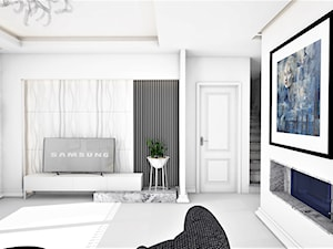 MIESZKANIE UTRZYMANE W JASNEJ TONACJI - Mały biały salon, styl glamour - zdjęcie od adachdesign