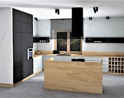 STYL INDUSTRIALNY WE WNĘTRZU - Średnia otwarta biała kuchnia w kształcie litery l w aneksie z wyspą z oknem, styl industrialny - zdjęcie od adachdesign