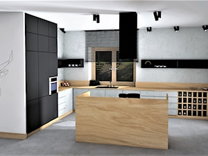 STYL INDUSTRIALNY WE WNĘTRZU - Średnia otwarta biała kuchnia w kształcie litery l w aneksie z wyspą z oknem, styl industrialny - zdjęcie od Adach Design Studio wnętrz Magdalena Adach