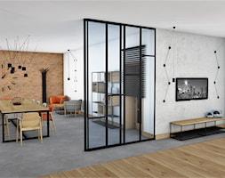 STYL INDUSTRIALNY WE WNĘTRZU - Duża zamknięta biała jadalnia jako osobne pomieszczenie, styl industrialny - zdjęcie od adachdesign