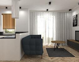 mieszkanie Żoliborz - Mały biały salon z kuchnią, styl nowoczesny - zdjęcie od noobo studio - Homebook