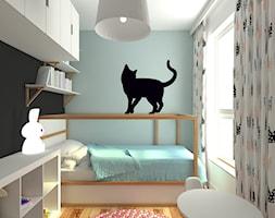 mieszkanie grodzisk mazowiecki 80 m2 - Mały biały niebieski czarny pokój dziecka dla dziewczynki dla malucha, styl skandynawski - zdjęcie od noobo studio