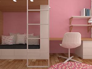 mieszkanie grodzisk mazowiecki 80 m2 - Mały różowy pokój dziecka dla dziewczynki dla rodzeństwa dla ucznia dla malucha, styl skandynawski - zdjęcie od noobo studio