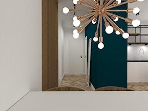 mieszkanie Żoliborz - Mała otwarta biała turkusowa jadalnia w kuchni, styl nowoczesny - zdjęcie od noobo studio