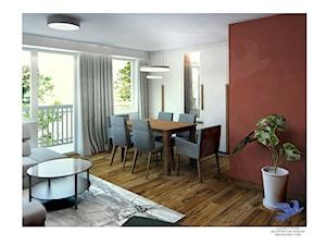 remont salonu - Średni biały czerwony salon z jadalnią - zdjęcie od Lazuryt Studio Architektura Wnętrz