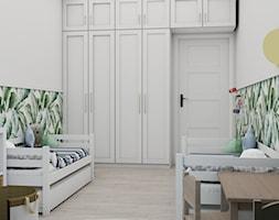 Projekt koncepcyjny pokoju dziecięcego w kilku wersjach - Duży biały zielony pokój dziecka dla chłopca dla dziewczynki dla rodzeństwa dla ucznia dla malucha, styl skandynawski - zdjęcie od Studio 36m2