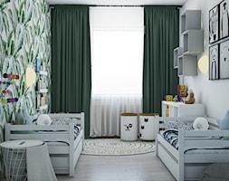 Projekt koncepcyjny pokoju dziecięcego w kilku wersjach - Średni biały pokój dziecka dla chłopca dla dziewczynki dla rodzeństwa dla malucha, styl skandynawski - zdjęcie od Studio 36m2
