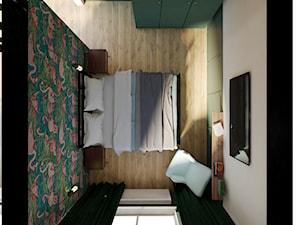 Nietypowe mieszkanie dla Pary - Średnia biała zielona sypialnia małżeńska, styl industrialny - zdjęcie od Studio 36m2