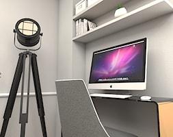 Mieszkanie na Warszawskim Żoliborzu - Małe szare biuro kącik do pracy, styl nowojorski - zdjęcie od Studio 36m2