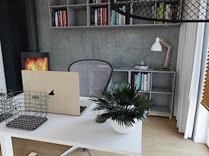 170 m2 w Łomiankach - Średnie czarne szare biuro domowe w pokoju, styl industrialny - zdjęcie od Studio 36m2