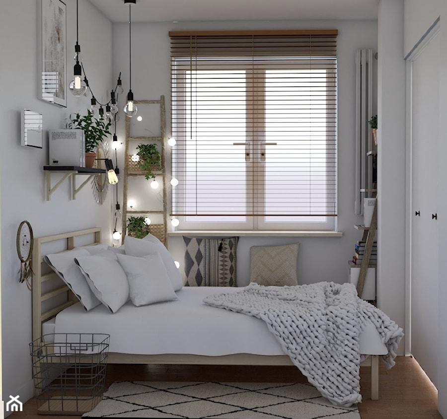 Metamorfoza sypialni - Mała biała sypialnia małżeńska, styl skandynawski - zdjęcie od Studio 36m2