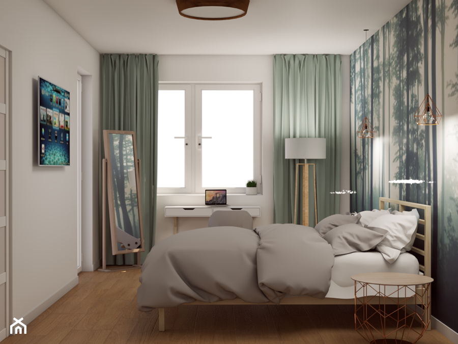 170 m2 w Łomiankach - Średnia biała sypialnia małżeńska, styl skandynawski - zdjęcie od Studio 36m2
