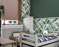 Projekt koncepcyjny pokoju dziecięcego w kilku wersjach - Średni biały zielony pokój dziecka dla chłopca dla dziewczynki dla rodzeństwa dla ucznia dla malucha, styl skandynawski - zdjęcie od Studio 36m2