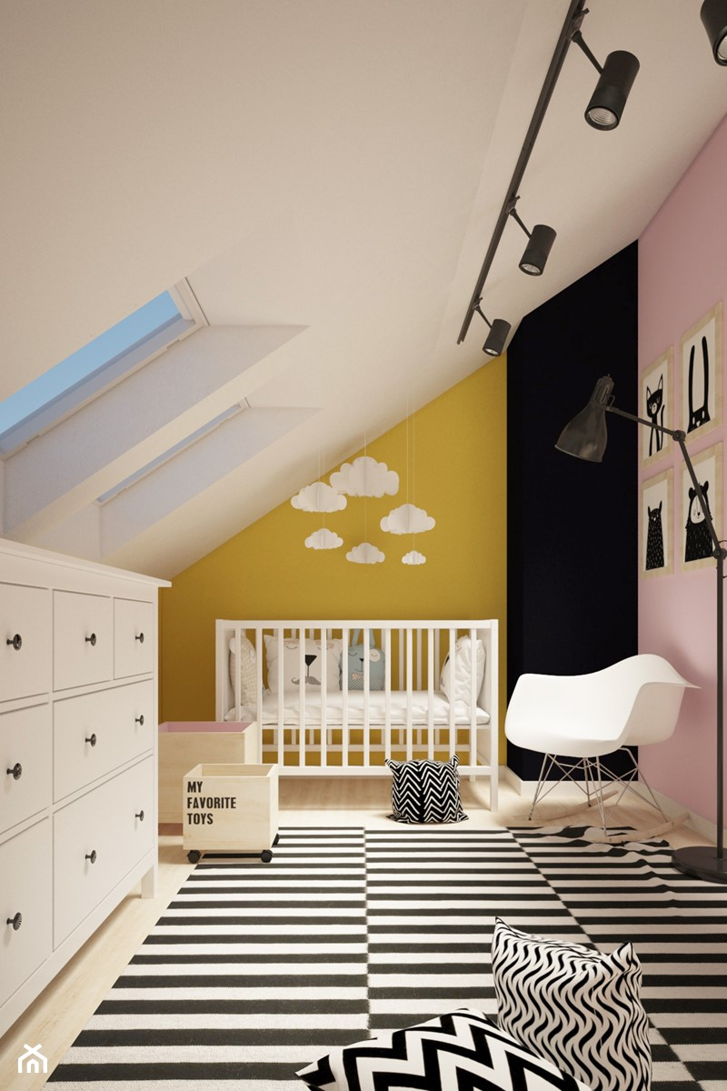 Aranżacje wnętrz - Pokój dziecka: STUDZIANKI - pokoje dziecięce i sypialnia na poddaszu - Średni żółty różowy pokój dziecka dla chłopca dla dziewczynki dla niemowlaka, styl skandynawski - Martyna Ignatowicz. Przeglądaj, dodawaj i zapisuj najlepsze zdjęcia, pomysły i inspiracje designerskie. W bazie mamy już prawie milion fotografii!