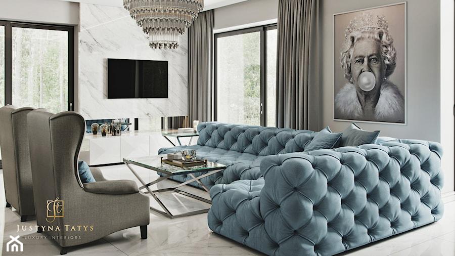 Rezydencja pod Warszawą - salon w stylu New York Glamour. - zdjęcie od JUSTYNA TATYS LUXURY INTERIORS