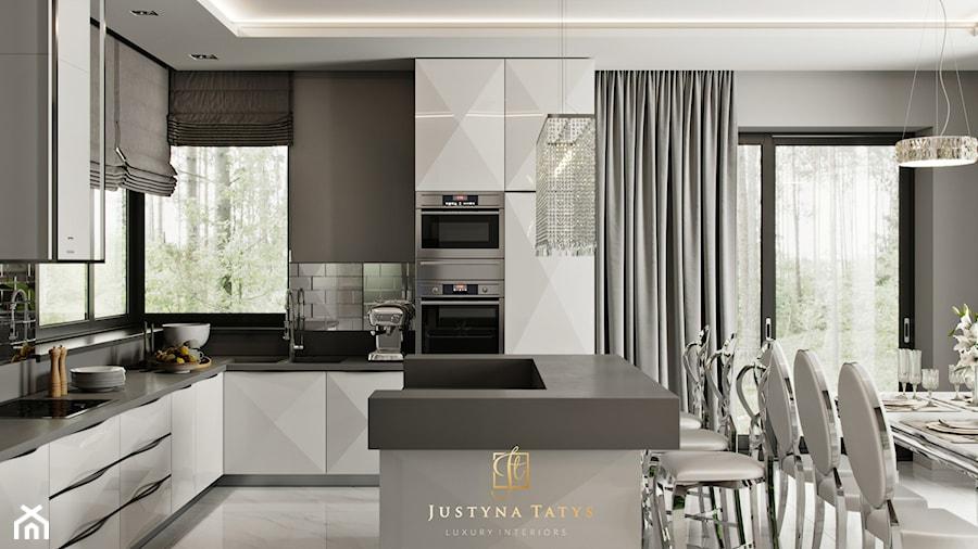 Rezydencja pod Warszawą - kuchnia i jadalnia w stylu New York Glamour. - zdjęcie od JUSTYNA TATYS LUXURY INTERIORS