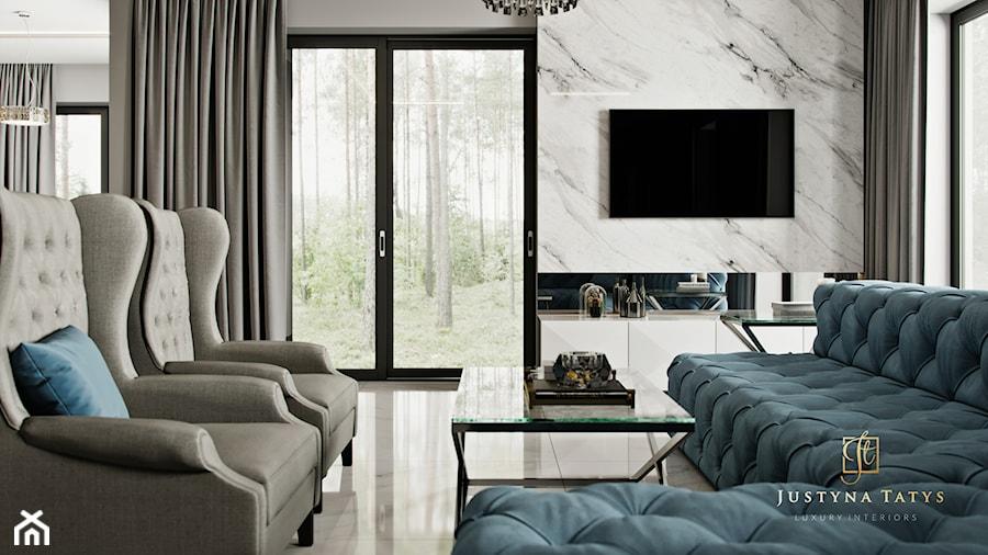 Rezydencja pod Warszawą - salon w stylu New York Glamour - zdjęcie od JUSTYNA TATYS LUXURY INTERIORS