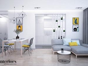 SŁONECZNE MIESZKANIE - Średnia otwarta biała jadalnia w salonie, styl skandynawski - zdjęcie od minteriors Monika Koryczan Architektura Wnętrz