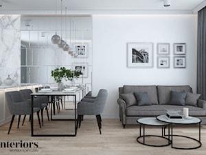 ELEGANCKIE MIESZKANIE W WARSZAWIE - Duża otwarta biała jadalnia w salonie, styl glamour - zdjęcie od minteriors Monika Koryczan Architektura Wnętrz