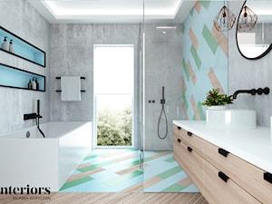 NIEBIESKA ŁAZIENKA DLA DWOJGA - Średnia łazienka w bloku w domu jednorodzinnym z oknem, styl eklektyczny - zdjęcie od minteriors Monika Koryczan Architektura Wnętrz