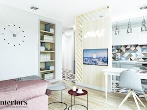 PROJEKT WNĘTRZA MIESZKANIA DLA STUDENTKI - Średni biały salon z kuchnią z jadalnią, styl eklektyczny - zdjęcie od minteriors Monika Koryczan Architektura Wnętrz