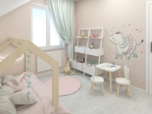 Pokój Blanki - Mały beżowy pokój dziecka dla chłopca dla dziewczynki dla ucznia dla malucha - zdjęcie od Ing