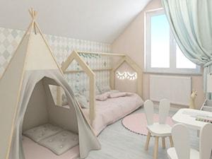 Pokój Blanki - Mały szary beżowy pokój dziecka dla chłopca dla dziewczynki dla ucznia dla malucha, styl skandynawski - zdjęcie od Ing
