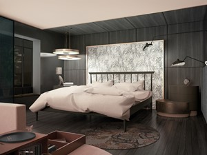Sypialnia - Średnia czarna sypialnia małżeńska - zdjęcie od IN studio projektowe