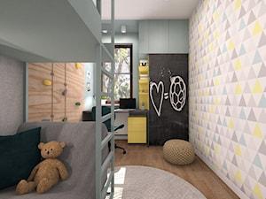 POKÓJ DLA CHŁOPCA 1 - Średni szary kolorowy pokój dziecka dla chłopca dla dziewczynki dla rodzeństwa dla ucznia dla malucha dla nastolatka, styl nowoczesny - zdjęcie od AP interiors Agata Piwowarczyk