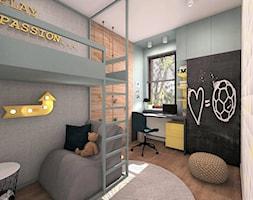 POKÓJ DLA CHŁOPCA 1 - Średni szary kolorowy pokój dziecka dla chłopca dla dziewczynki dla ucznia dla malucha dla nastolatka, styl nowoczesny - zdjęcie od AP interiors Agata Piwowarczyk
