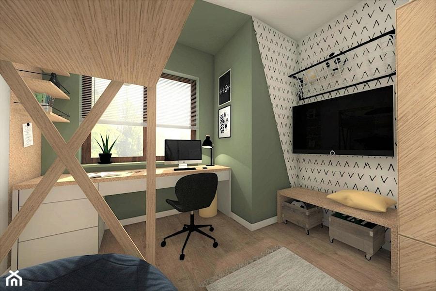 POKÓJ DLA CHŁOPCA 2 - Mały szary zielony pokój dziecka dla chłopca dla dziewczynki dla ucznia dla nastolatka, styl nowoczesny - zdjęcie od AP interiors Agata Piwowarczyk