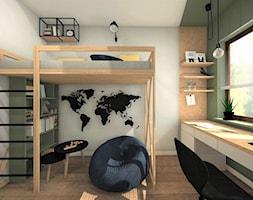 POKÓJ DLA CHŁOPCA 2 - Mały szary pokój dziecka dla chłopca dla dziewczynki dla ucznia dla nastolatka, styl nowoczesny - zdjęcie od AP interiors Agata Piwowarczyk