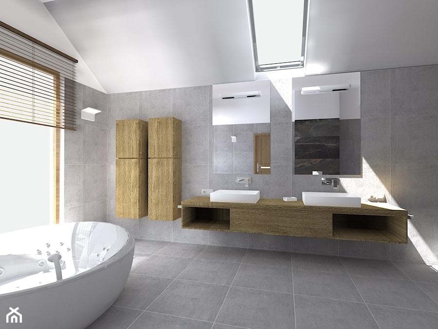 Projekt łazienki - Duża łazienka na poddaszu w domu jednorodzinnym z oknem, styl eklektyczny - zdjęcie od DorotaBykowska.pl