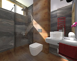 Projekt łazienki - Mała szara łazienka w bloku w domu jednorodzinnym z oknem, styl industrialny - zdjęcie od DorotaBykowska.pl