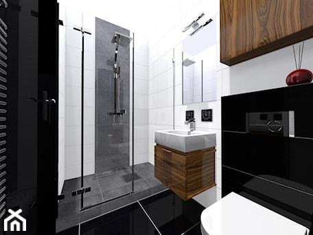 Aranżacje wnętrz - Łazienka: Projekt łazienki - Mała biała czarna łazienka w bloku w domu jednorodzinnym bez okna, styl nowojorski - DorotaBykowska.pl. Przeglądaj, dodawaj i zapisuj najlepsze zdjęcia, pomysły i inspiracje designerskie. W bazie mamy już prawie milion fotografii!