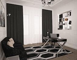Średnie szare biuro domowe kącik do pracy w pokoju, styl art deco - zdjęcie od diana.zadlo