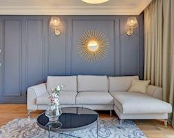 Apartament w Toruniu - Mały niebieski salon, styl nowojorski - zdjęcie od Domowe Kreatury - Homebook