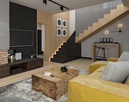 Dom w Siedlcach - Średni szary czarny salon, styl nowoczesny - zdjęcie od SSF_Interiors
