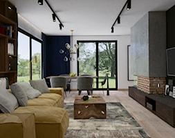 Dom w Siedlcach - Średni szary czarny salon z jadalnią, styl nowoczesny - zdjęcie od SSF_Interiors