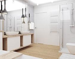 Łazienka biała z drewnem - zdjęcie od 3D Wizualizacje i Projektowanie