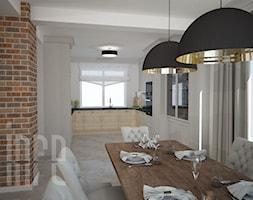 Projekt domu jednorodzinnego, Duczki pod Warszawą - Średnia otwarta biała jadalnia w kuchni, styl industrialny - zdjęcie od INRE