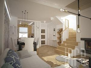 Projekt domu w zabudowie szeregowej - Mały szary salon z jadalnią, styl prowansalski - zdjęcie od INRE
