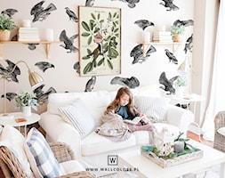 Tapeta+Medicine+-+Ptaki+na+bia%C5%82ym+tle+pattern+-+zdj%C4%99cie+od+wallcolors