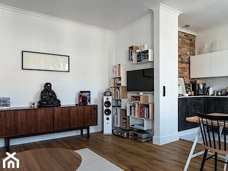 mieszkanie wierzbowa - Mały biały salon z kuchnią z jadalnią, styl vintage - zdjęcie od ENDE marcin lewandowicz