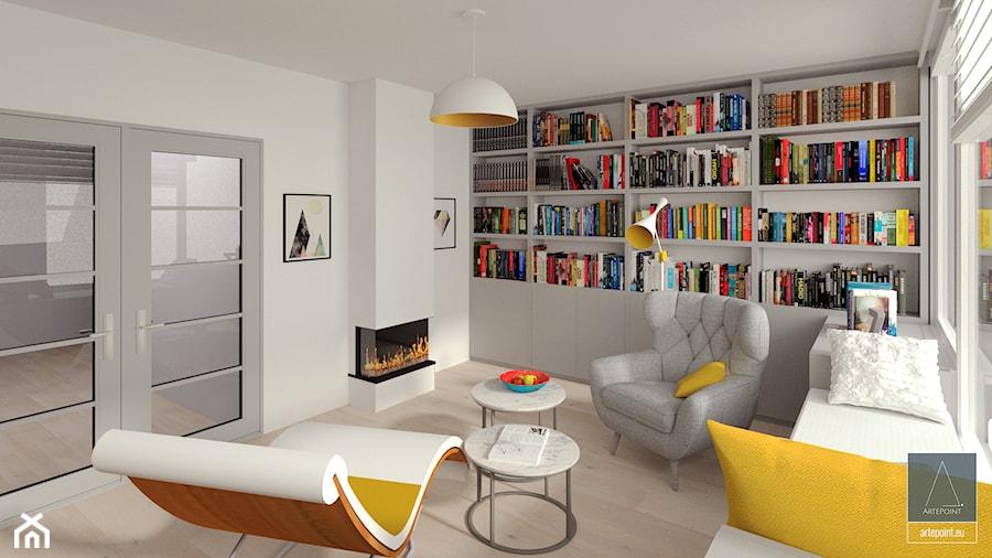 Biblioteka - Duże białe biuro domowe w pokoju - zdjęcie od ArtePoint
