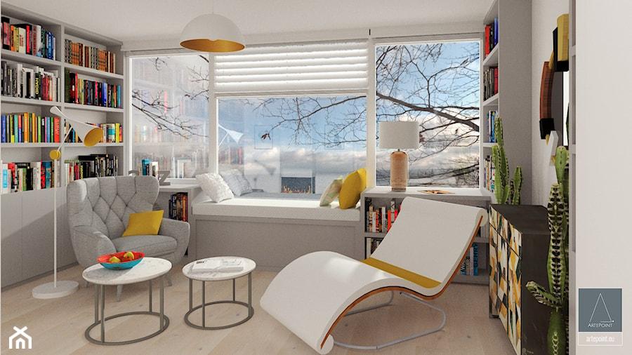 Aranżacje wnętrz - Biuro: Biblioteka - Średnie szare biuro domowe w pokoju - ArtePoint. Przeglądaj, dodawaj i zapisuj najlepsze zdjęcia, pomysły i inspiracje designerskie. W bazie mamy już prawie milion fotografii!