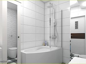 skandynawska łazienka - Średnia biała szara łazienka w bloku w domu jednorodzinnym bez okna, styl skandynawski - zdjęcie od wnetrzewdomu